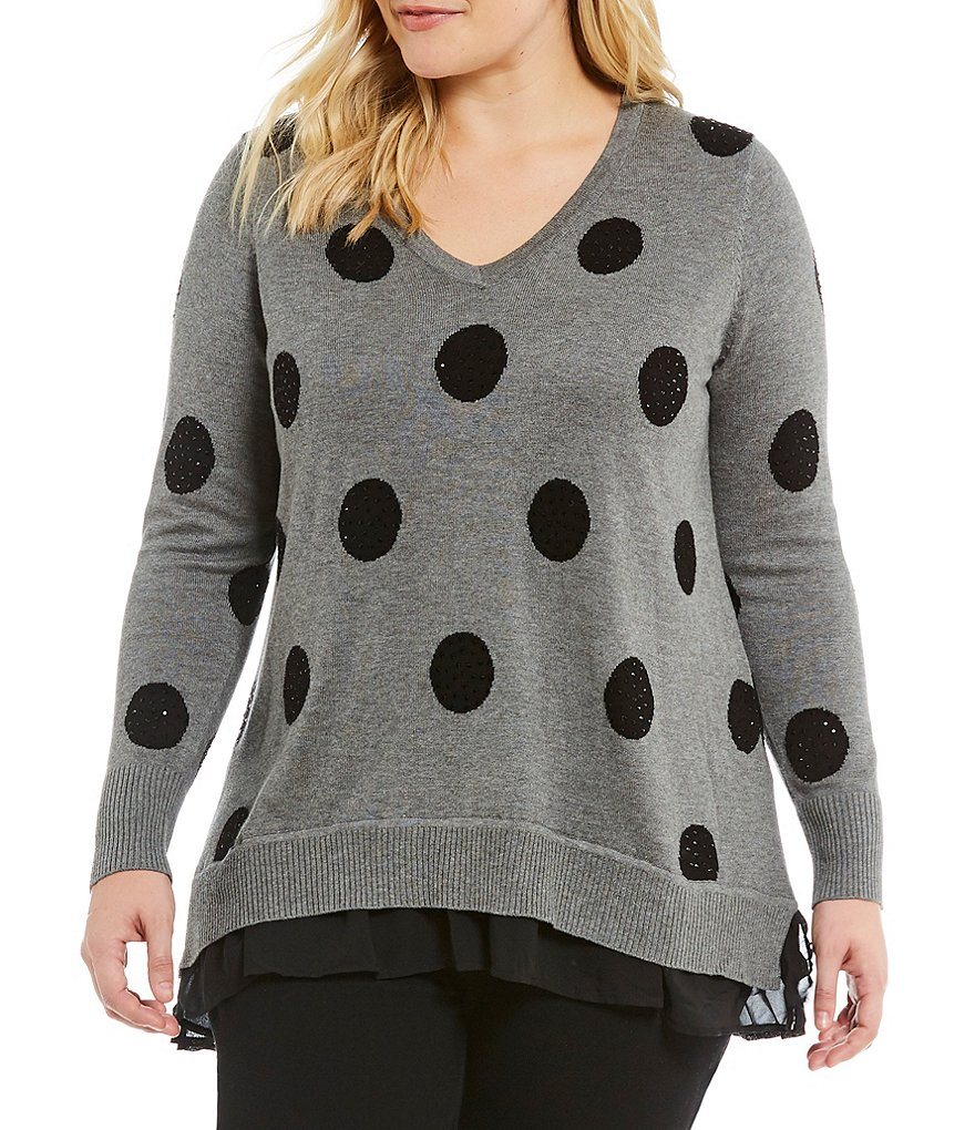 Chelsea & Theodore Plus Embellished Polka Dot Sweater