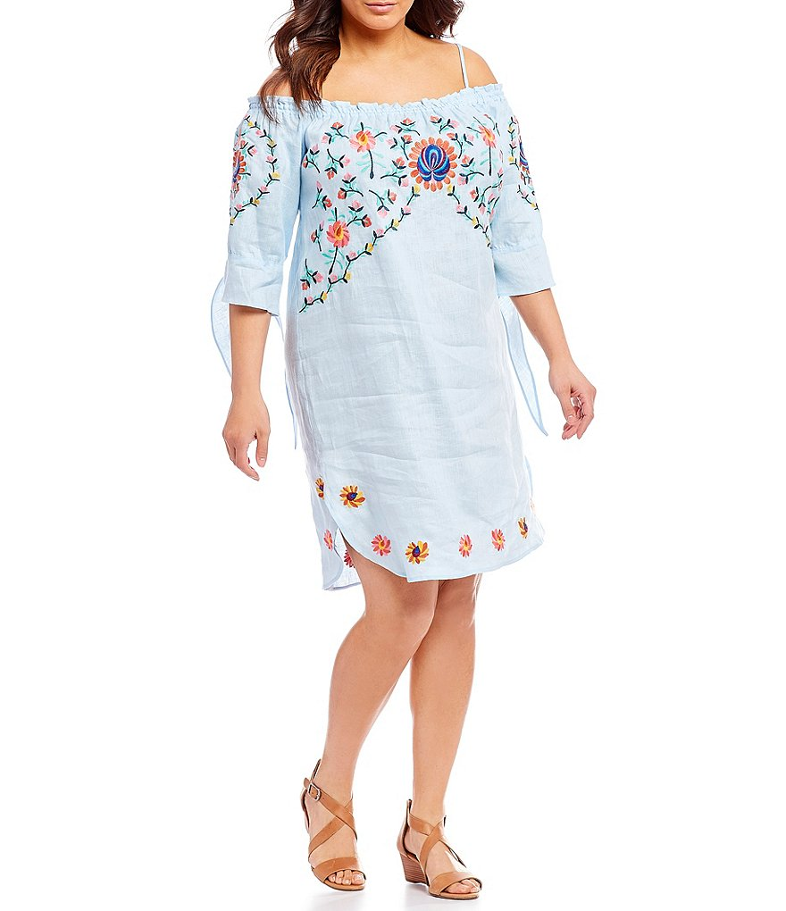 Chelsea & Theodore Plus Off-The-Shoulder Embroidered Tie-Sleeve Dress