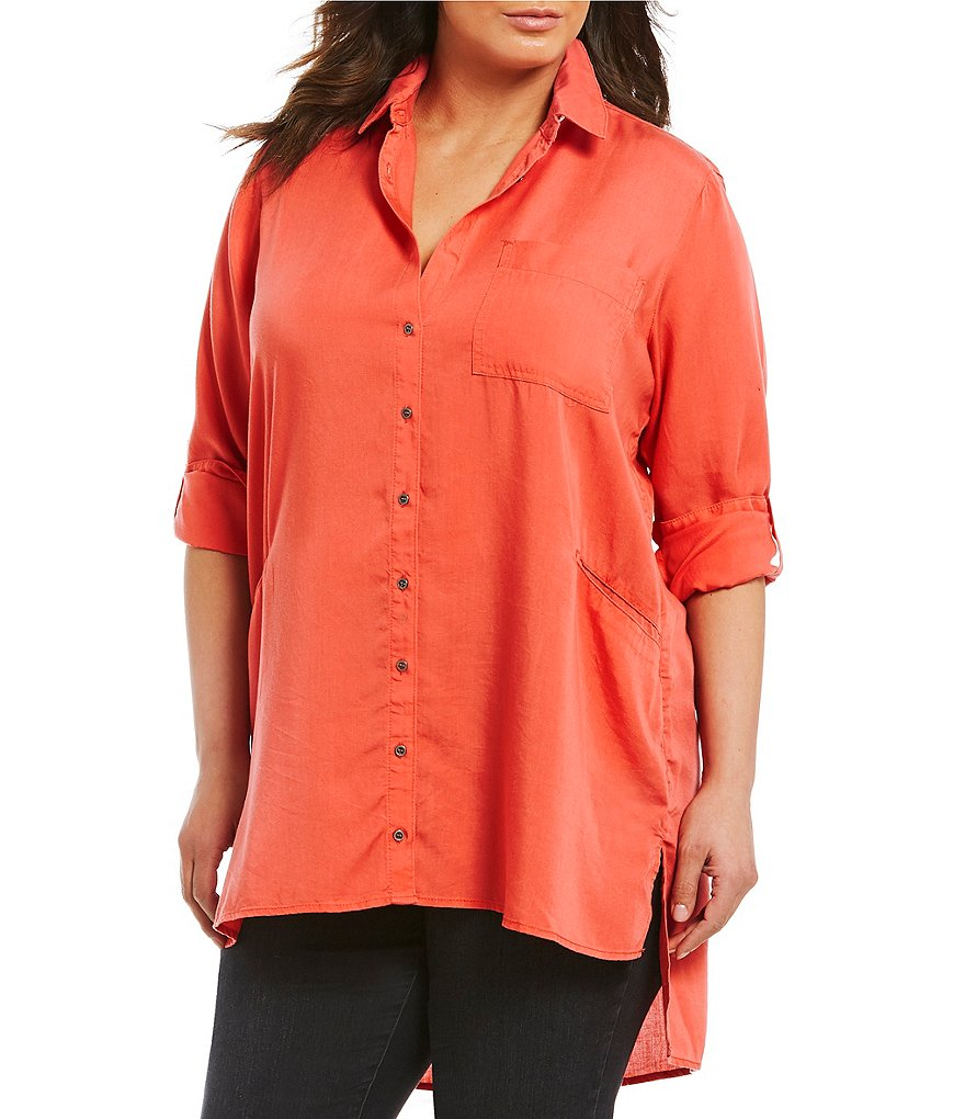 Chelsea & Theodore Plus Roll-Tab Sleeve Button Front Tunic