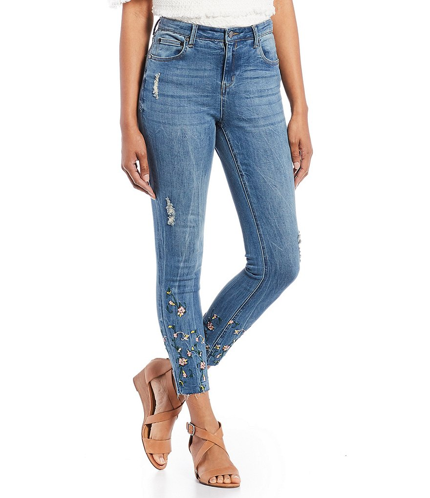 Chelsea & Theodore Slim Embroidered Mid Rise Skinny Jeans