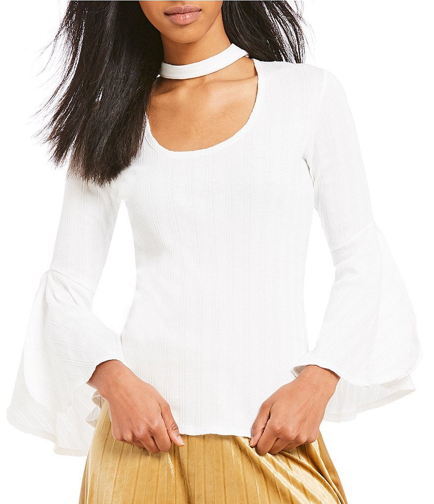 Chelsea & Violet Cutout Scoop Choker Neck Bell Sleeve Knit Top