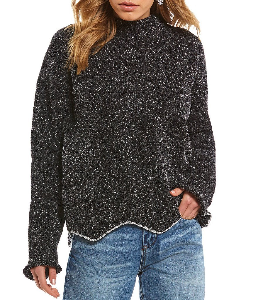 Chelsea & Violet Lurex Metallic Hem Sweater