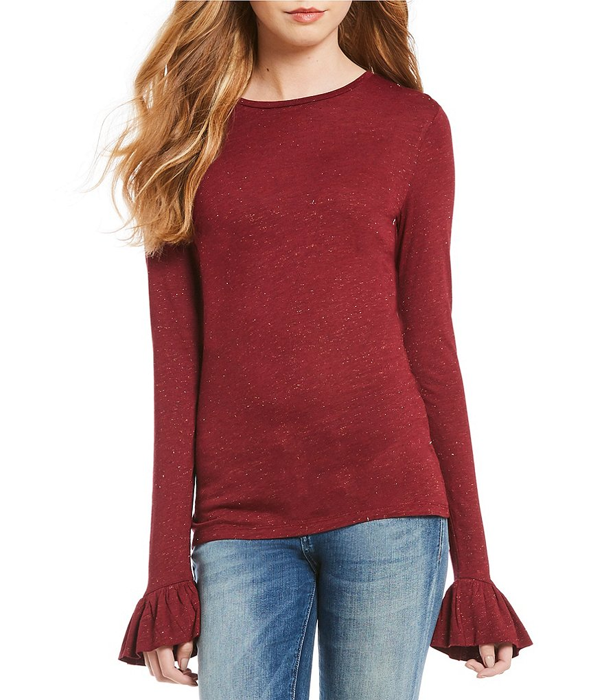 Chelsea & Violet Bell Sleeve Lurex Knit Top