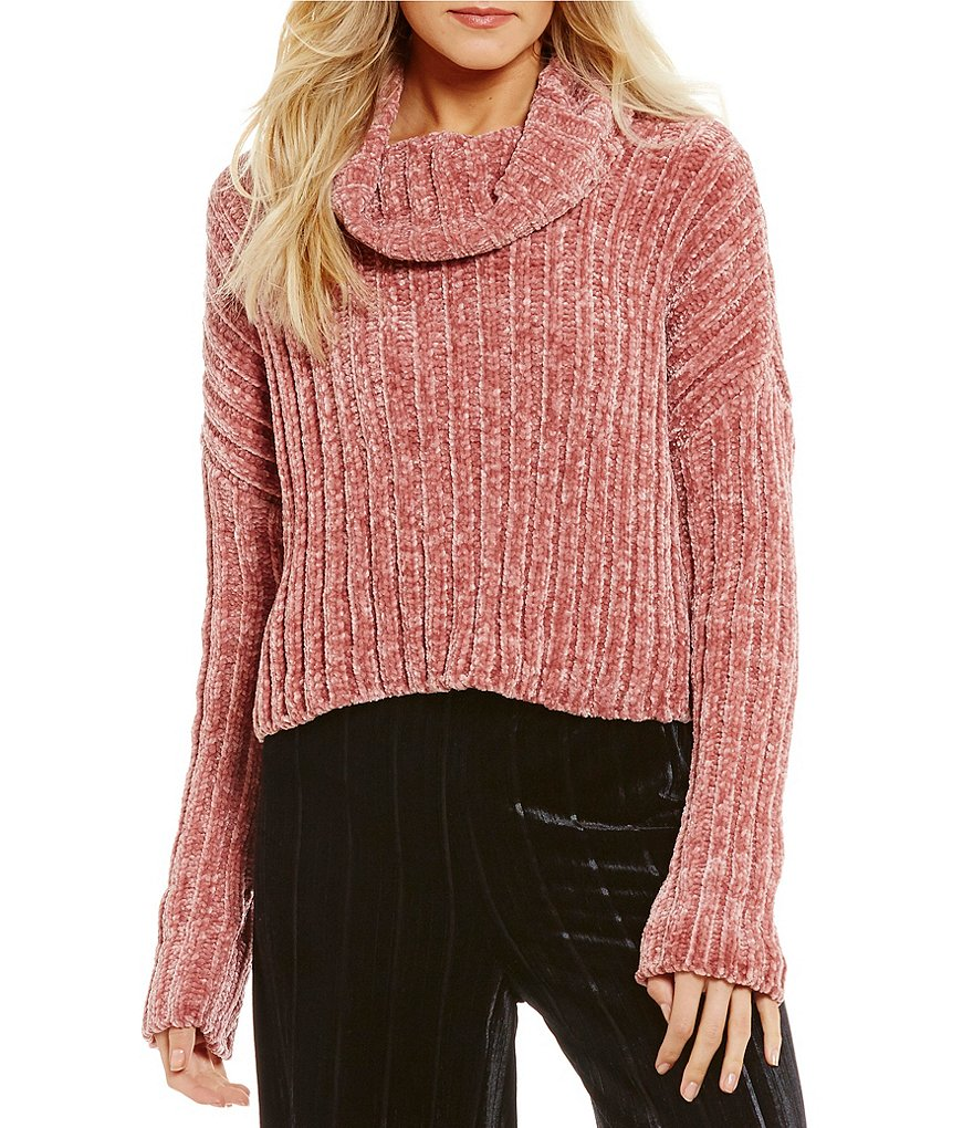Chelsea & Violet Chenille Turtleneck Oversized Cropped Sweater ...