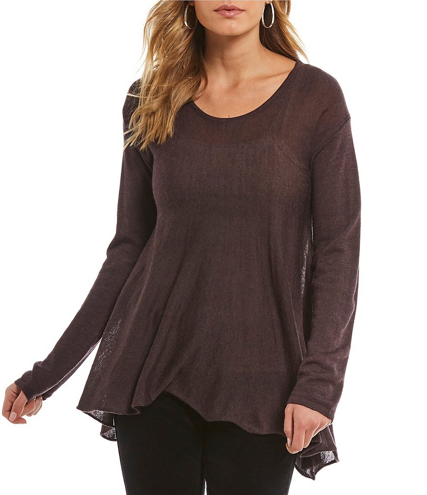Chelsea & Violet Hi Low Long Sleeve Knit Tunic Top