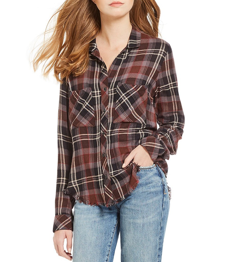 Chelsea & Violet Plaid Frayed Hem Button Down Top