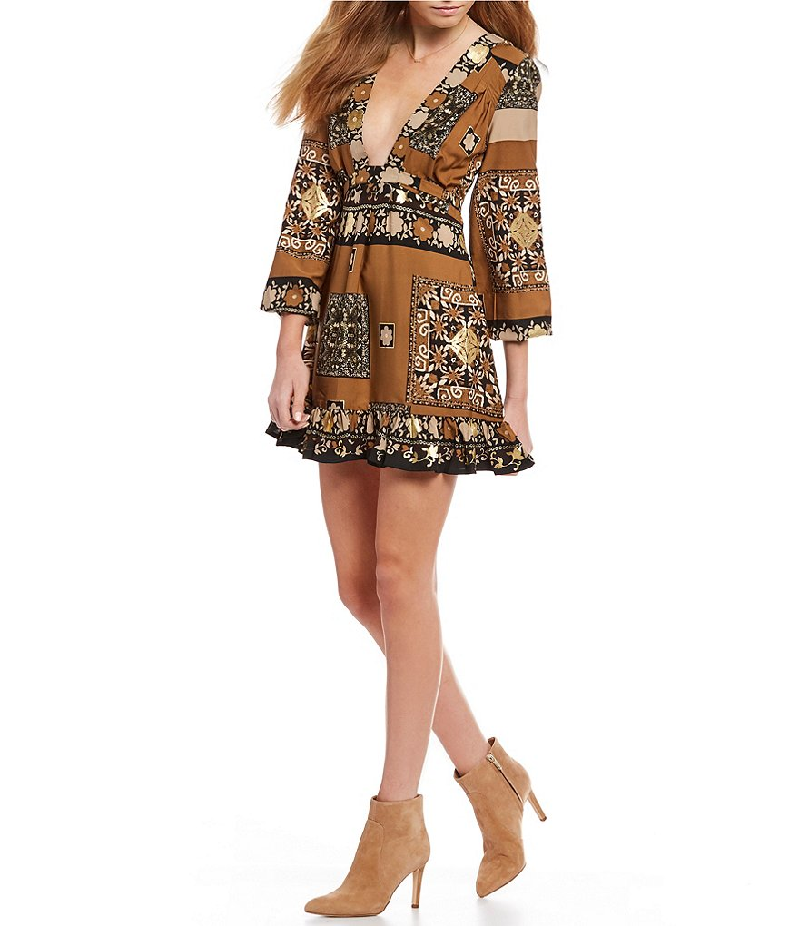 Chelsea & Violet Printed Deep V Dress