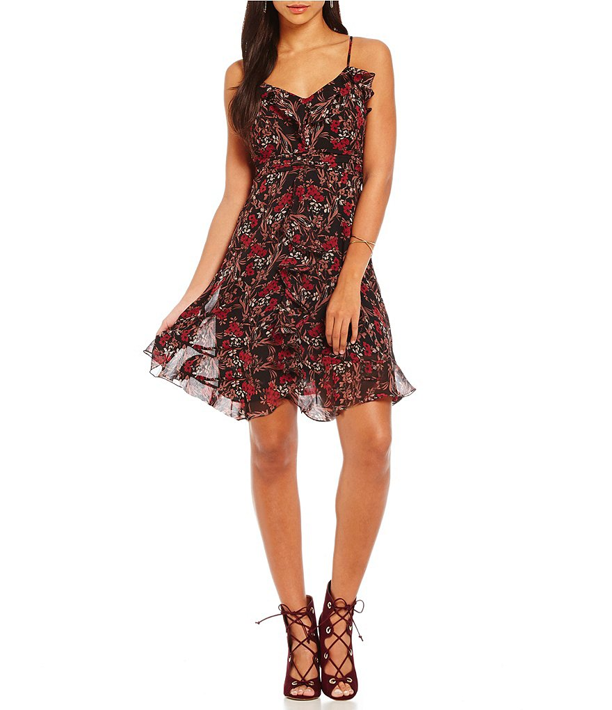 Chelsea & Violet Printed Ruffle V-Neck Dress