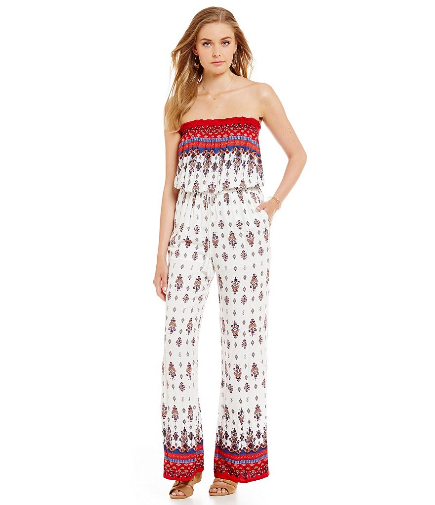 Chelsea & Violet Printed Strapless Jumpsuit