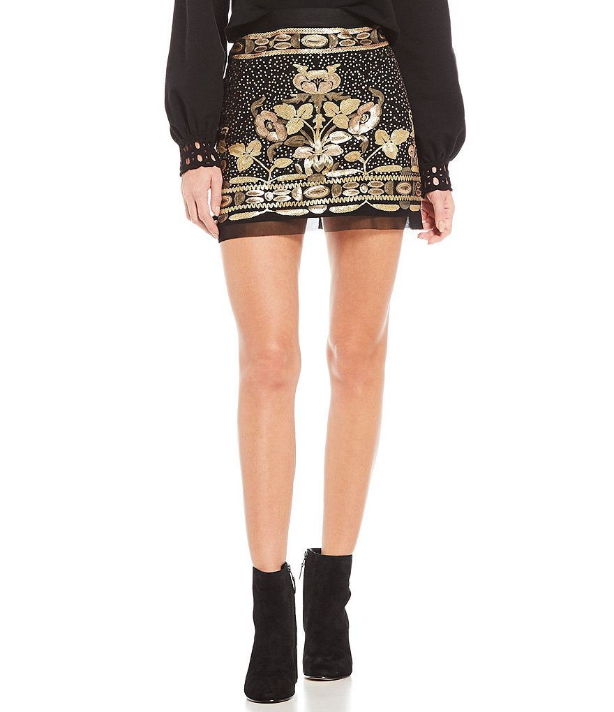 Chelsea & Violet Sequin Mesh Mini Skirt