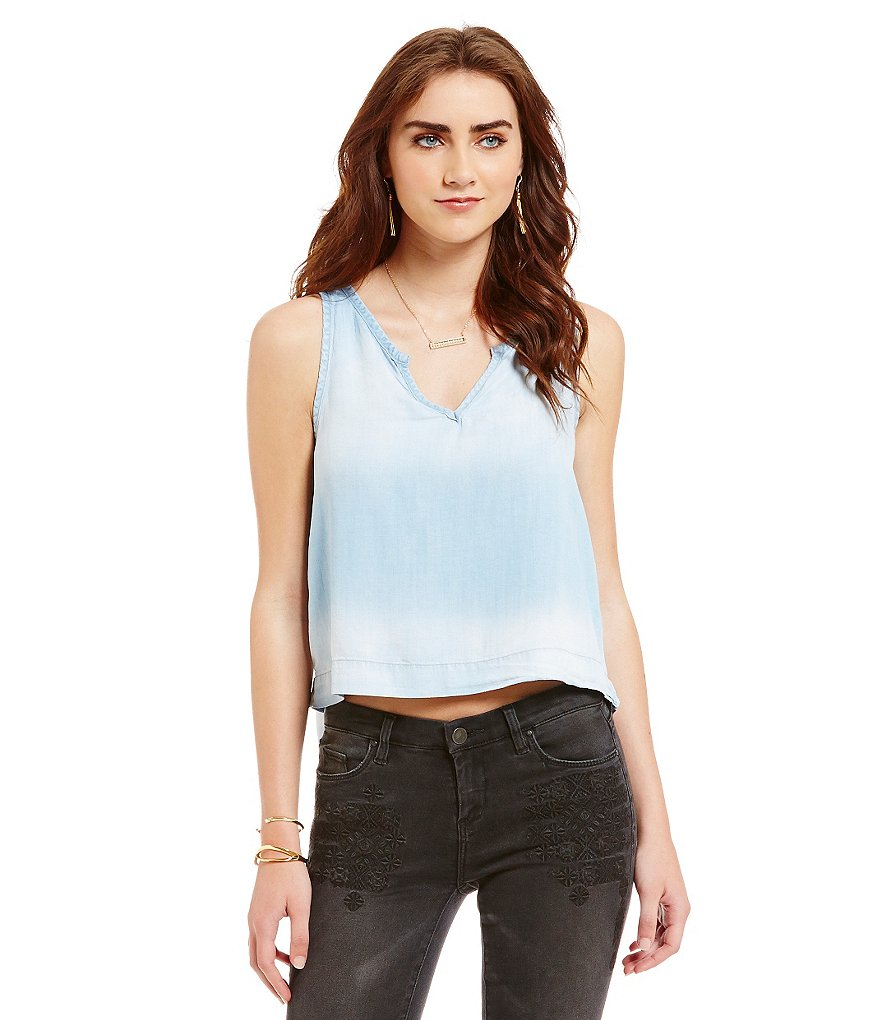 Chelsea & Violet Sleeveless Denim Cropped Top