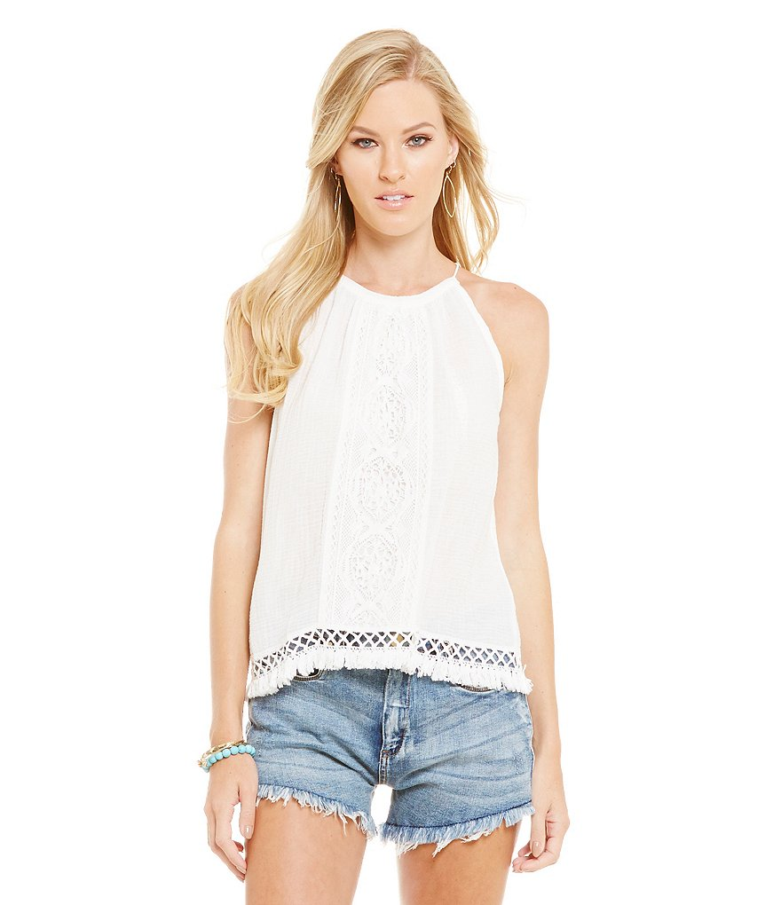 Chelsea & Violet Sleeveless Hater Crochet Cropped Top