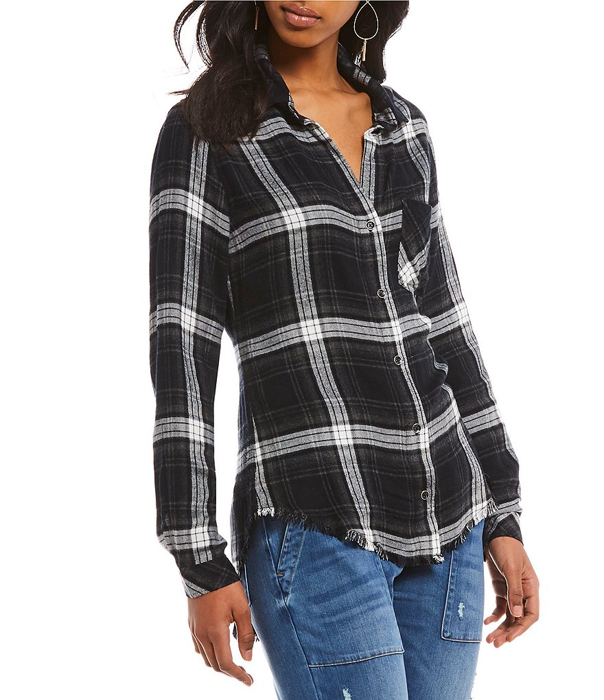 Chelsea & Violet Two Pocket Plaid Button Down