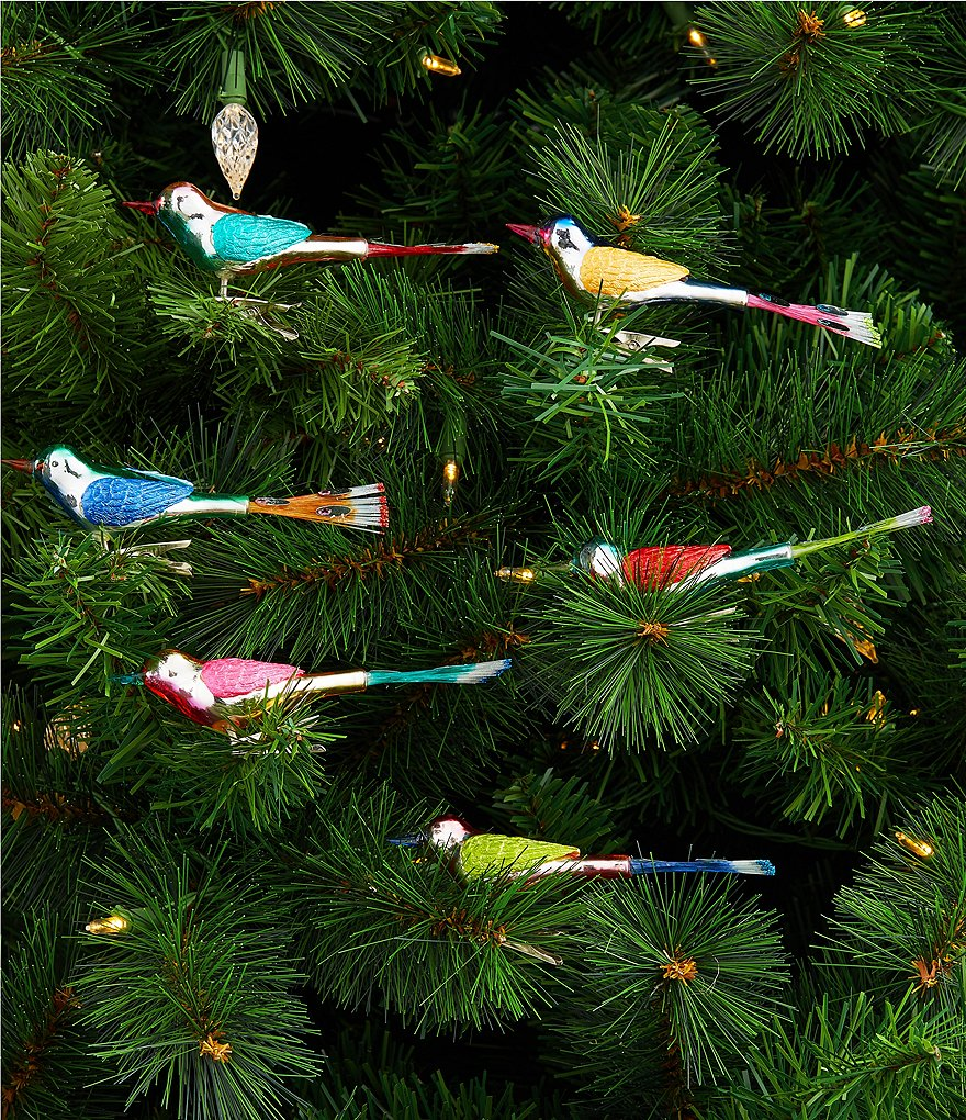 Christopher Radko Shiny Brite Christmas Confetti Mini Birds 6-Piece Ornament Set