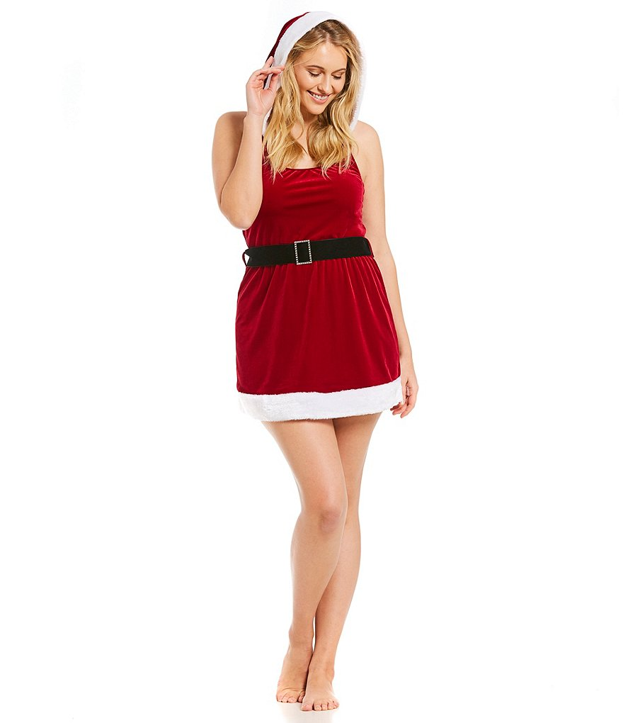 Cinema Etoile Plus Faux-Fur-Trimmed Hooded Velvet Santa Babydoll