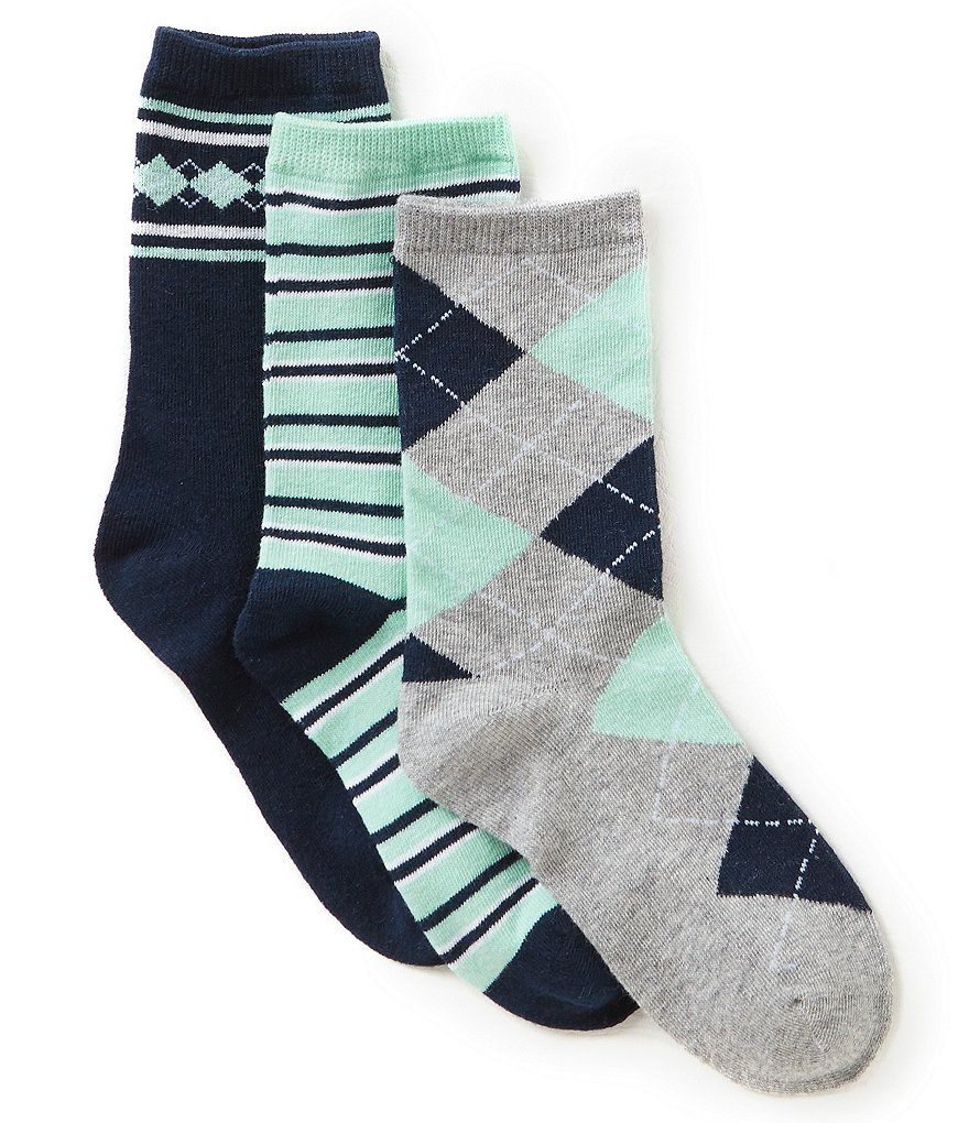 Class Club 3-Pack Argyle Crew Dress Socks