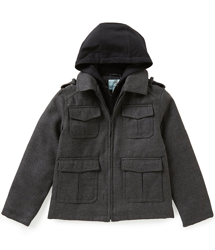 Class Club Big Boys 8-20 Flannel Military Jacket