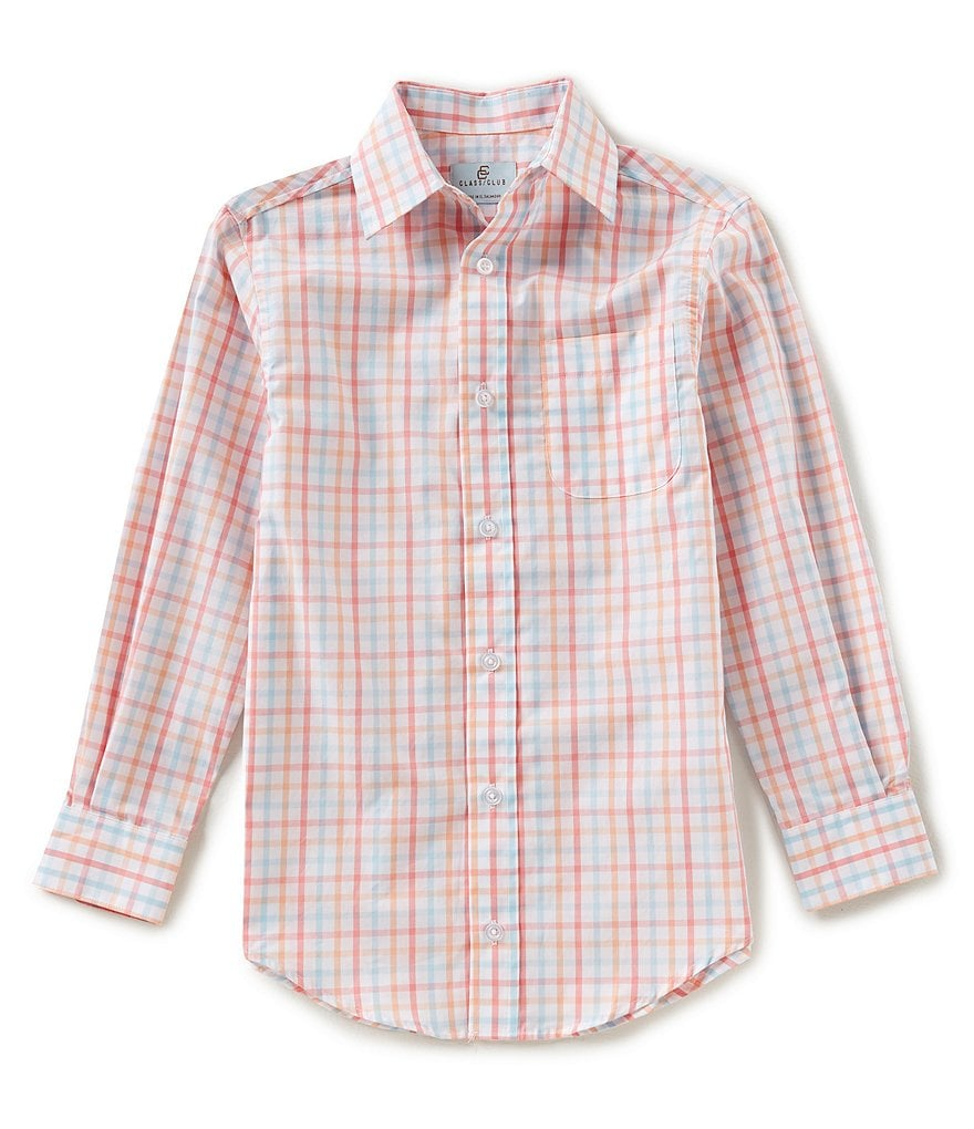 Class Club Big Boys 8-20 Grid Button-Down Long-Sleeve Shirt