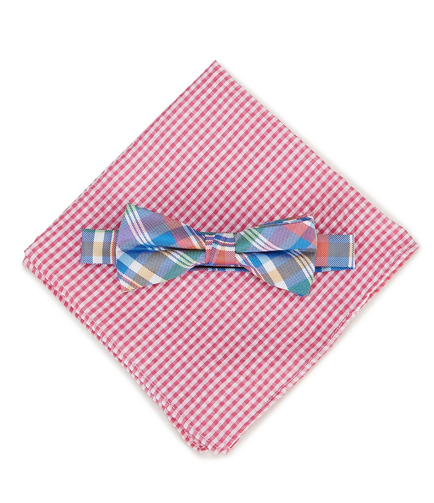 Class Club Gingham Pocket Square & Plaid Bow Tie Set