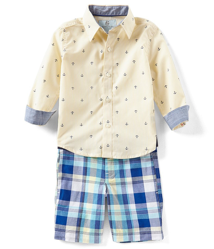 Class Club Little Boys 2T-7 Anchor Button-Down Shirt & Plaid Shorts Set