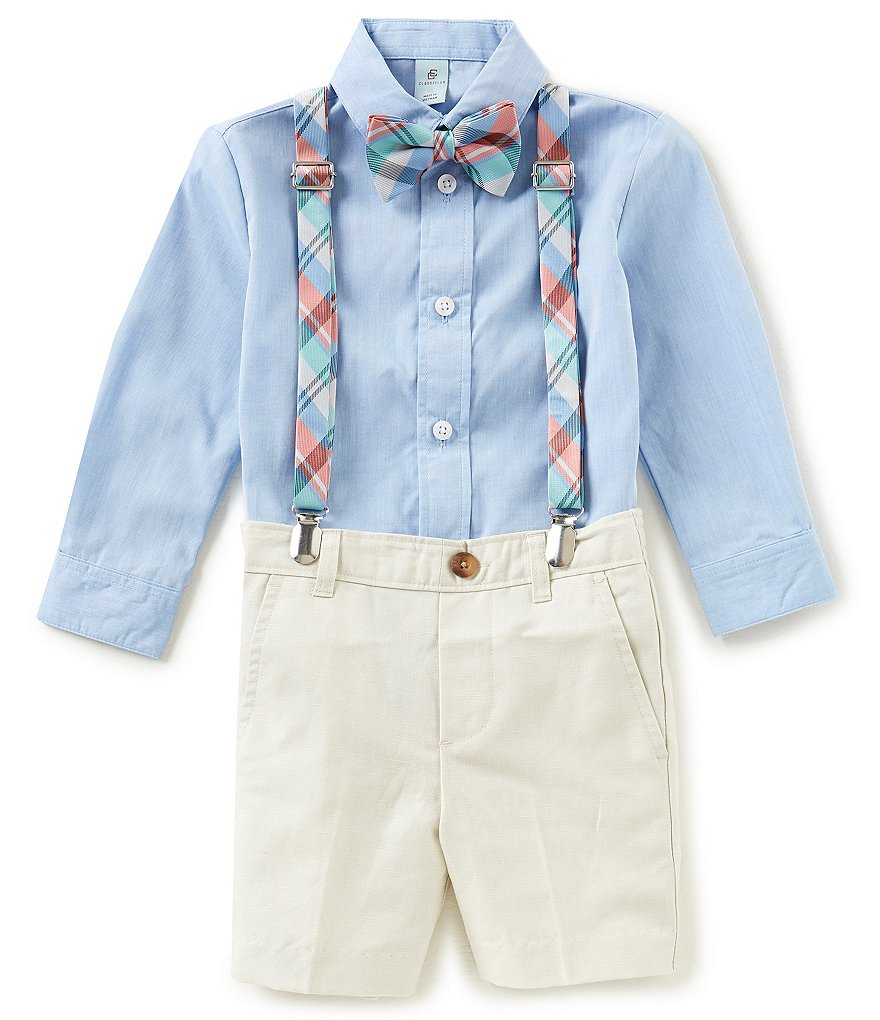 Class Club Little Boys 2T-7 Button-Down Shirt, Shorts, Plaid Suspenders & Bow Tie 4-Piece Set