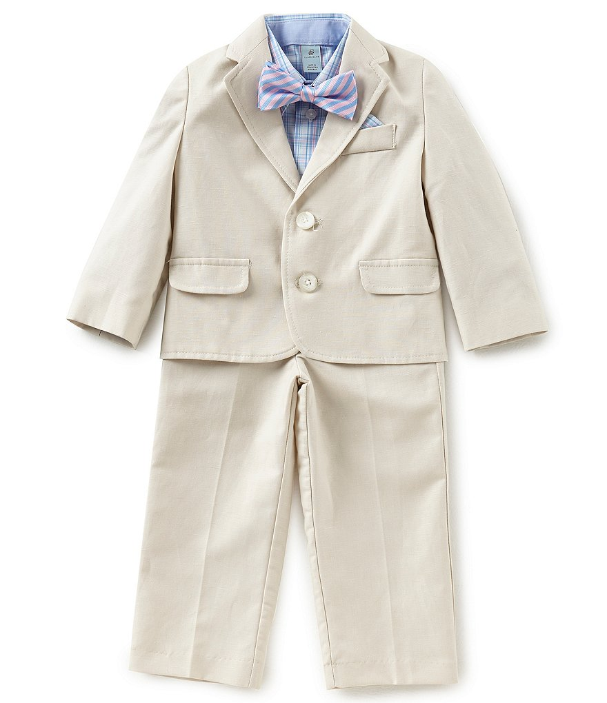 Class Club Little Boys 2T-7 Checked Button-Down Shirt, Jacket, Pants, & Striped Tie 4-Piece Suit Set