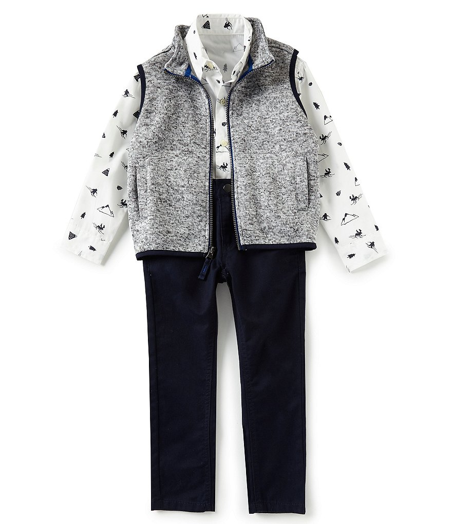 Class Club Little Boys 2T-7 Marled Sweater Vest, Woodland Print Shirt, and Pants Set