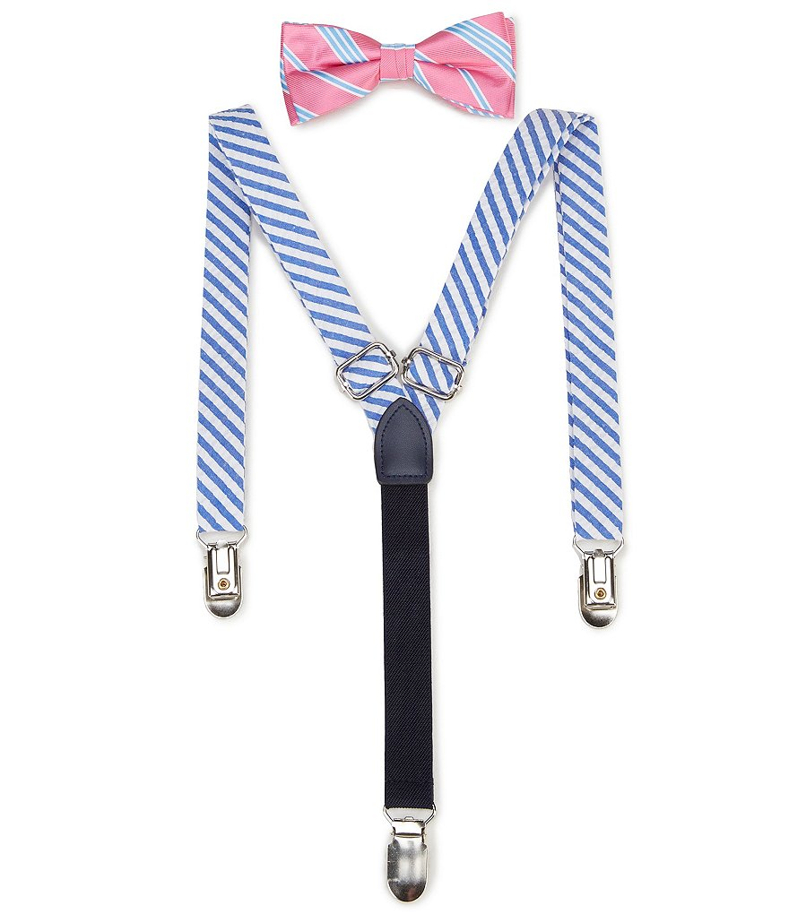 Class Club Striped Bow Tie & Chambray Suspenders Set