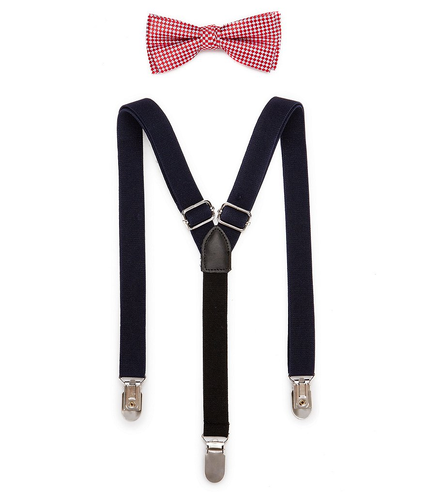 Class Club Textured Bow Tie & Suspenders Set