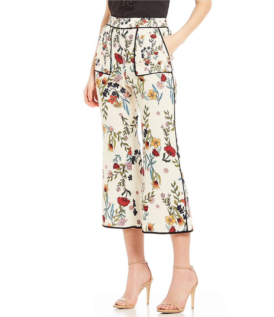 C/MEO Entitle Floral Print Flared Culotte Pants