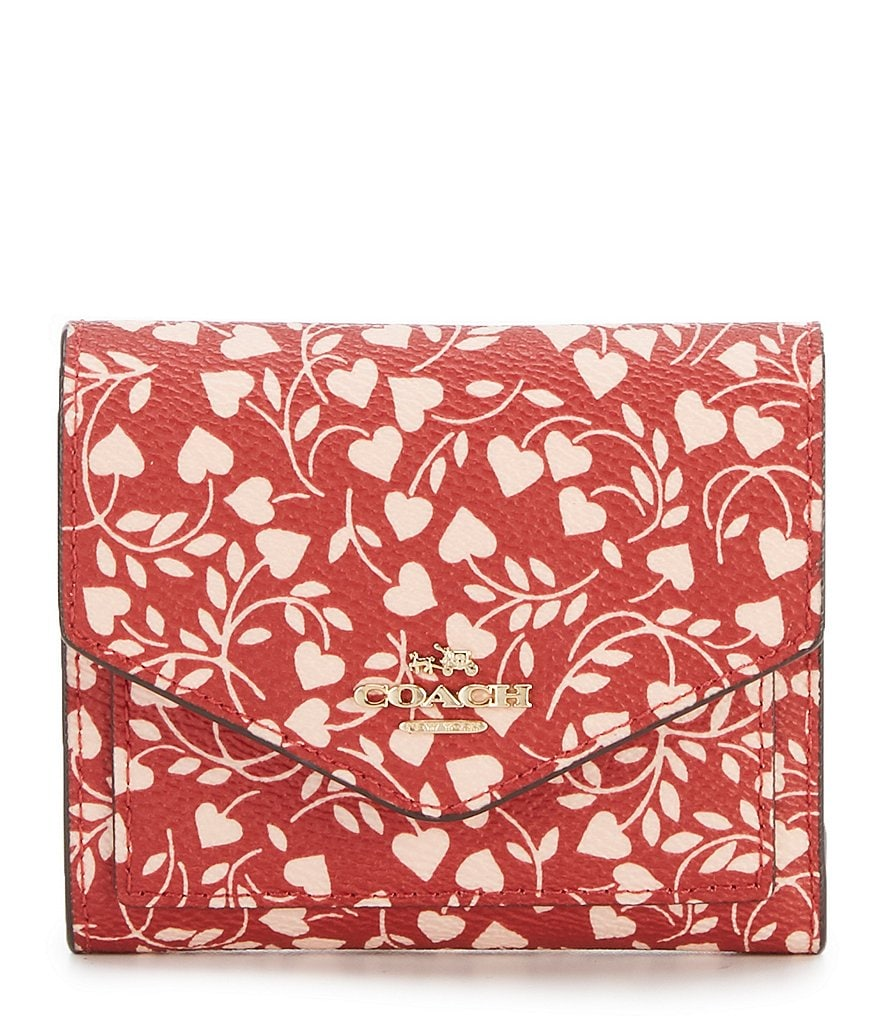 COACH BOXED LOVE LEAF PRINT SMALL WALLET