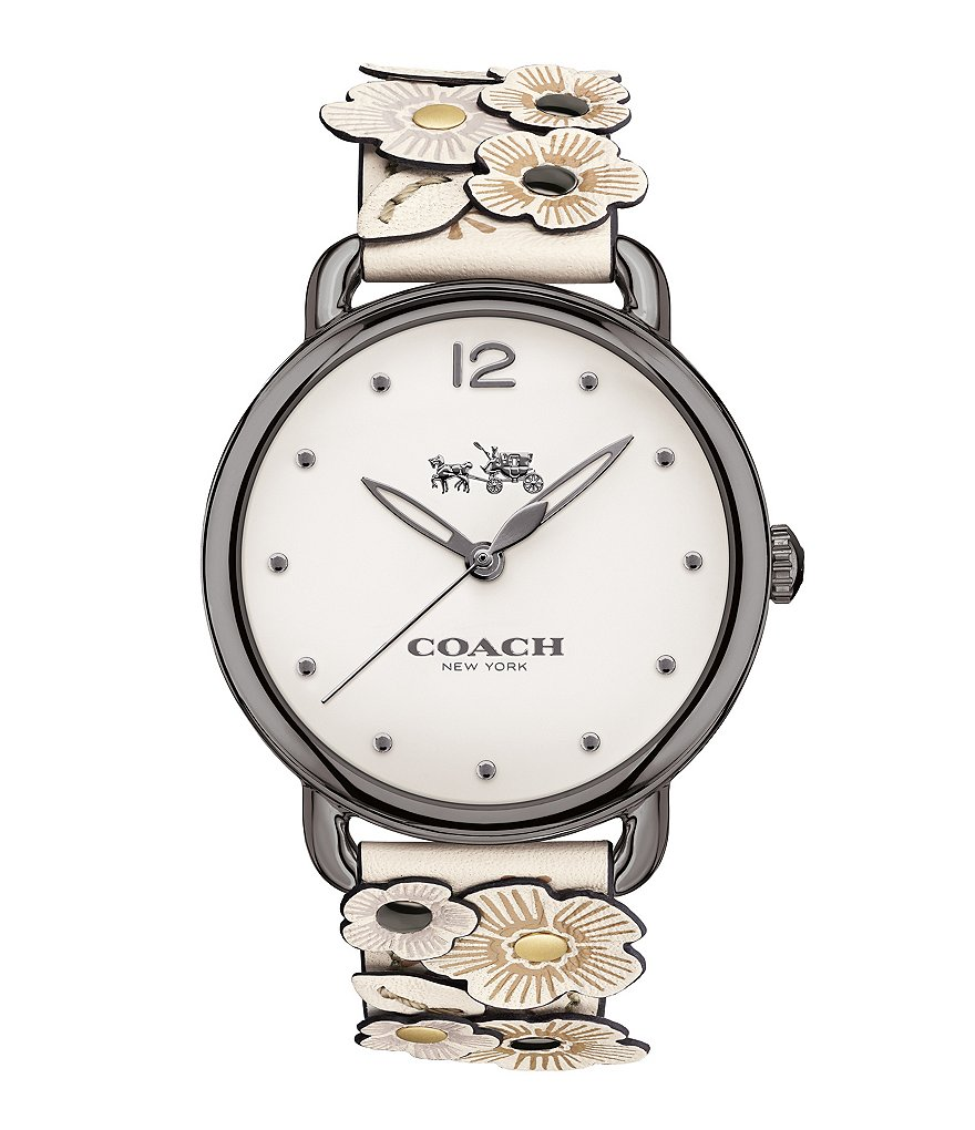 COACH DELANCEY RETRO LEATHER-STRAP WATCH
