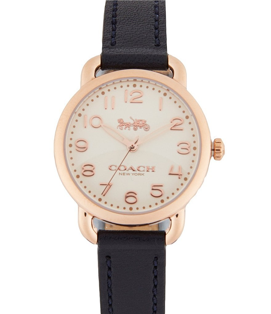 COACH DELANCEY STAINLESS STEEL LEATHER-STRAP WATCH