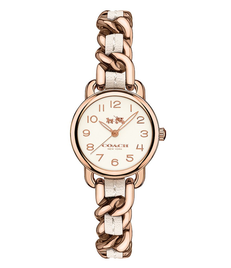 COACH DELANCY ROSE GOLD & WHITE WOVEN LEATHER BRACELET STRAP WATCH