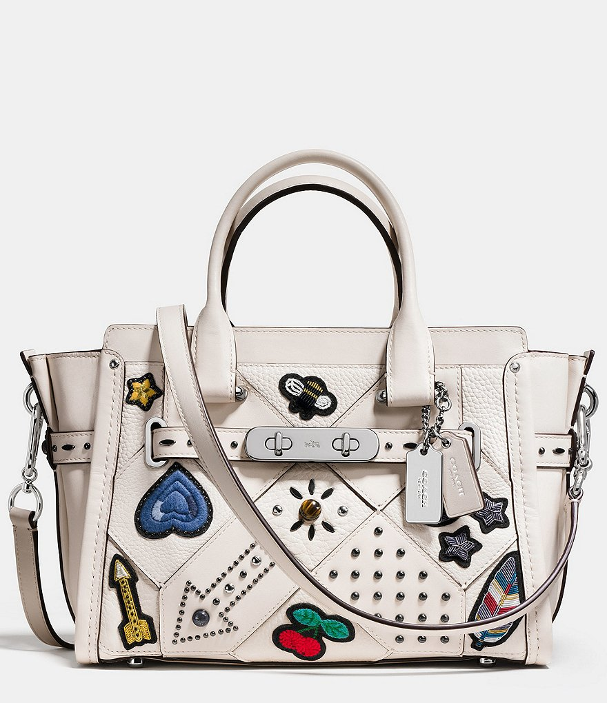 COACH EMBELLISHED CANYON QUILT SWAGGER 27 IN PEBBLE LEATHER AND HAIRCALF