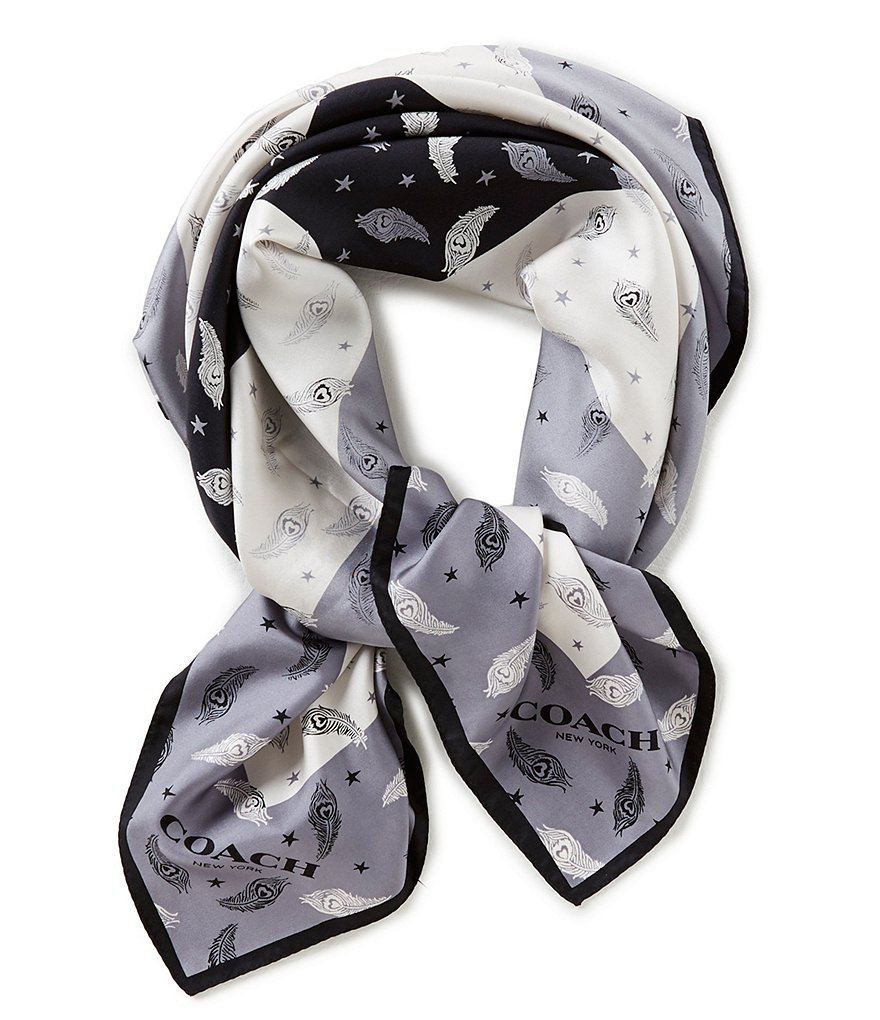 COACH HEART FEATHER SILK SQUARE SCARF
