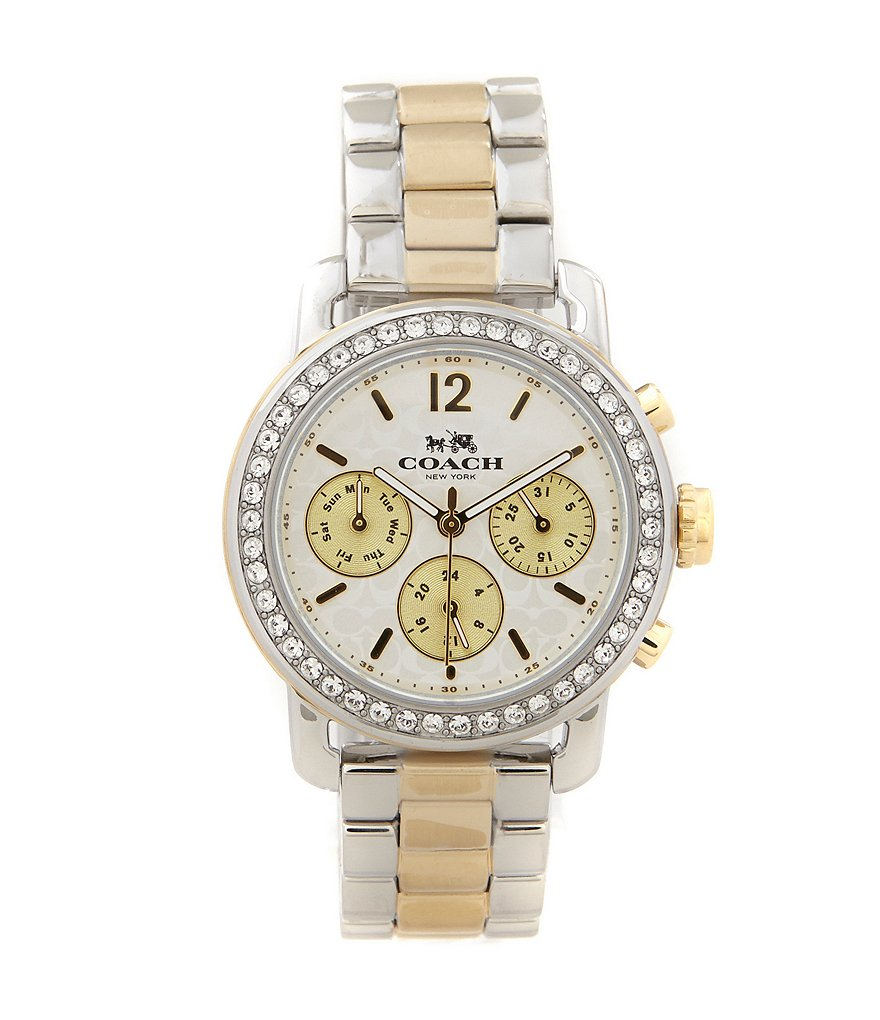 COACH LEGACY SPORT MULTIFUNCTION TWO TONE BRACELET WATCH