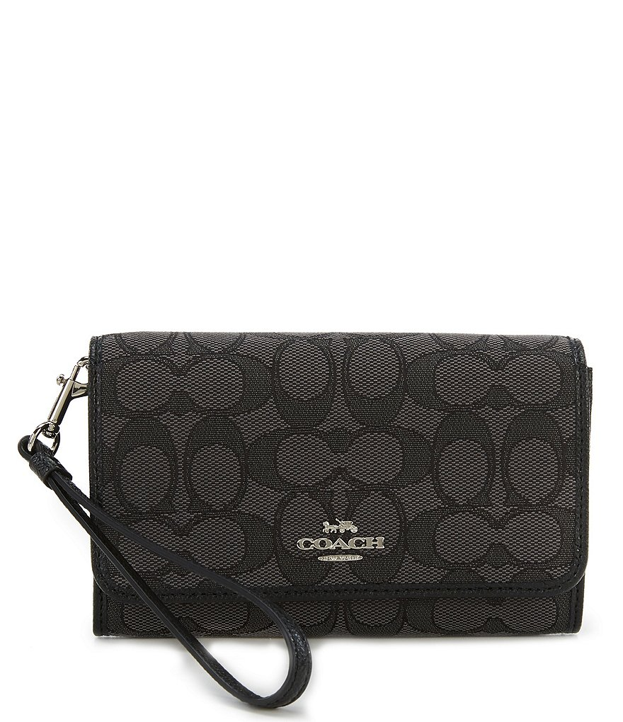 COACH SIGNATURE JACQUARD BOXED PHONE CLUTCH