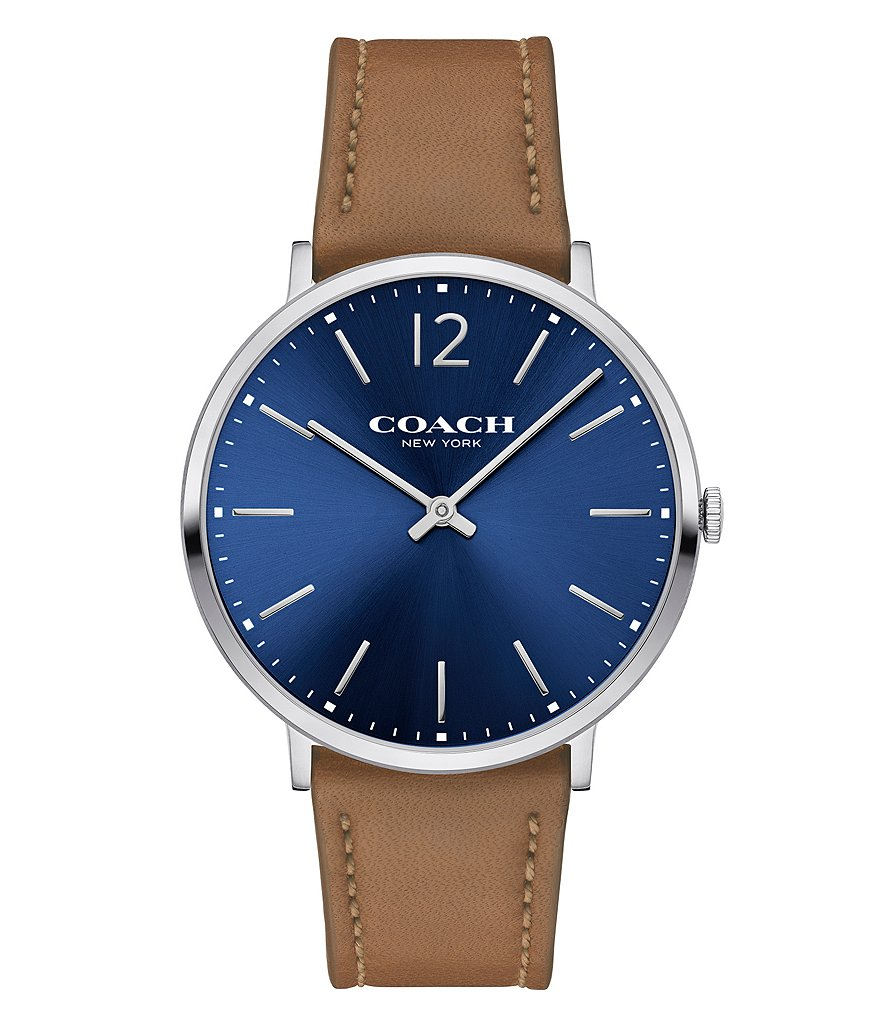 COACH SLIM EASTON SUNRAY DIAL STAINLESS STEEL LEATHER STRAP WATCH