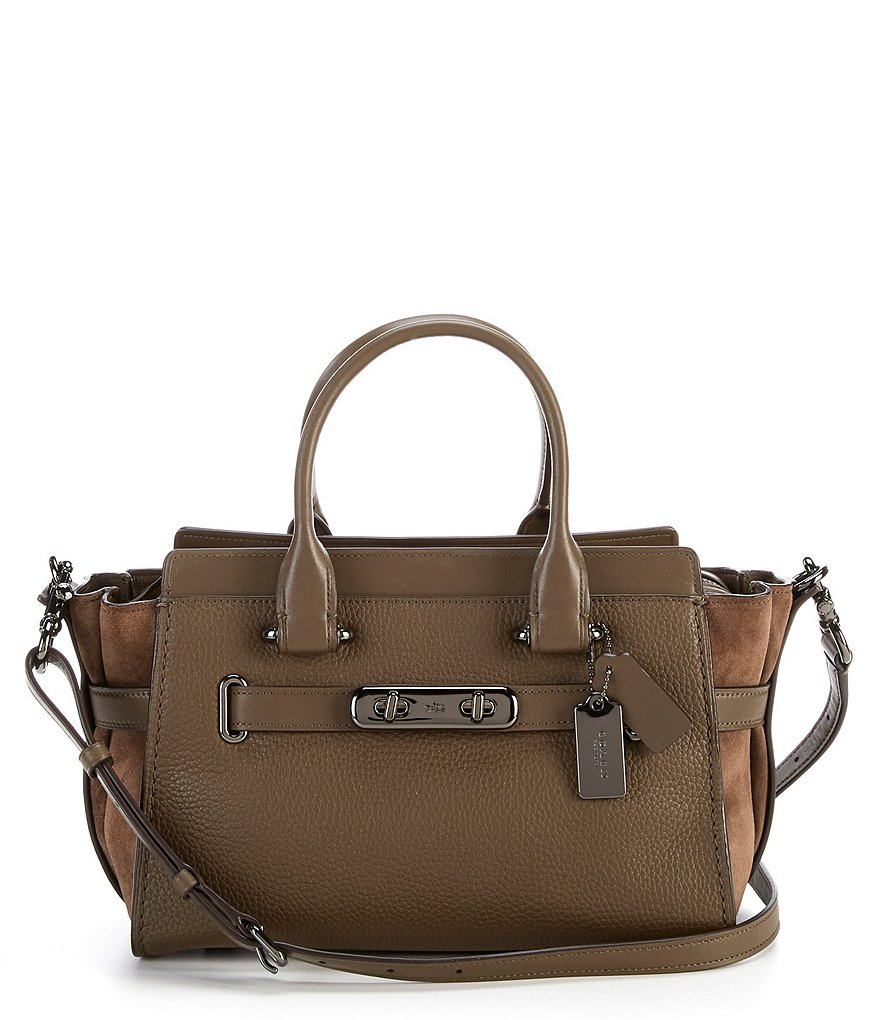 COACH SWAGGER 27 MIXED-LEATHERS SATCHEL