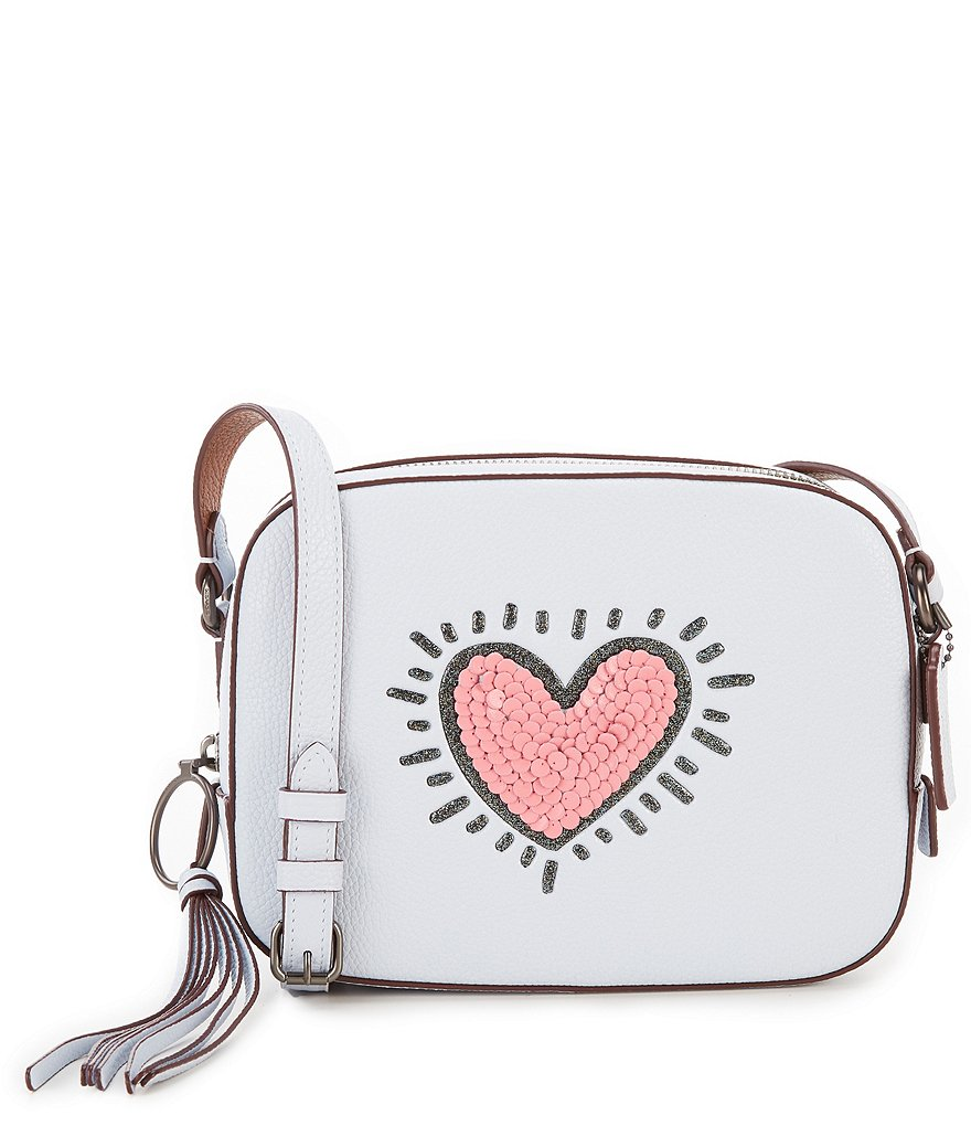 COACH X KEITH HARING SEQUIN-HEART CAMERA BAG