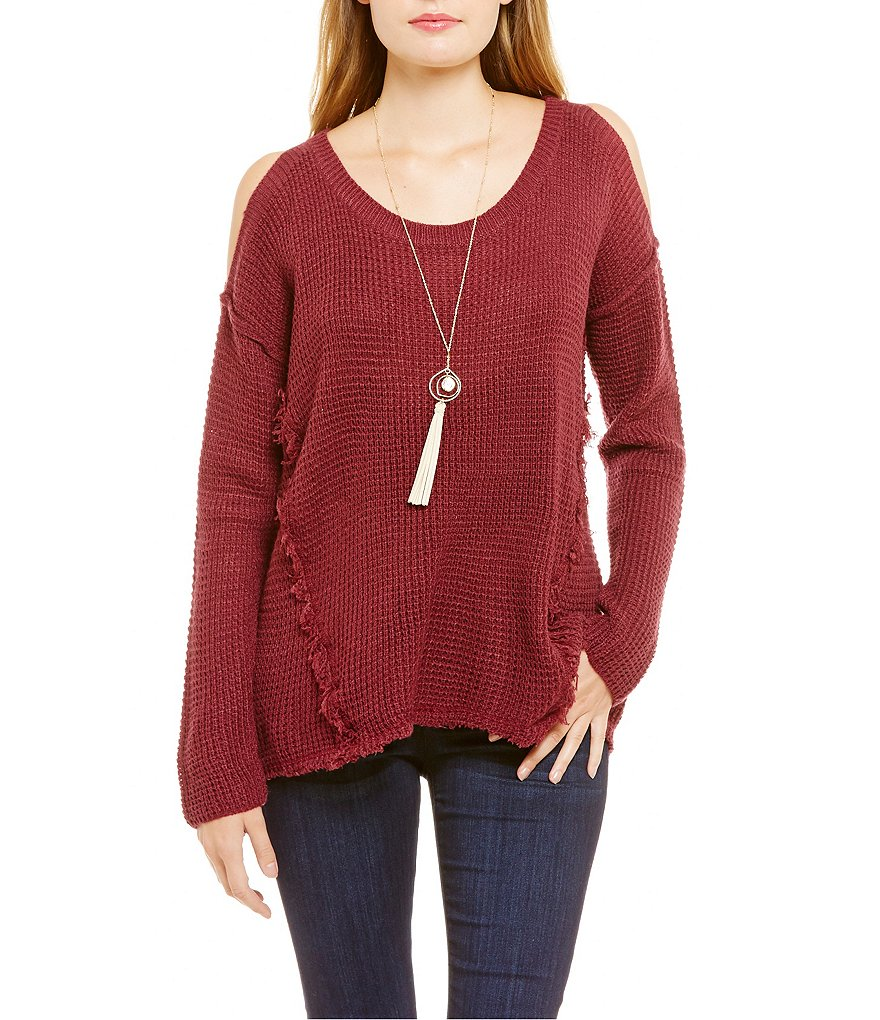 Coco Jaimeson Cold-Shoulder Textured Sweater