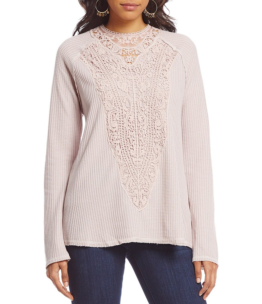 Coco + Jaimeson Crochet Applique Waffle Knit Top