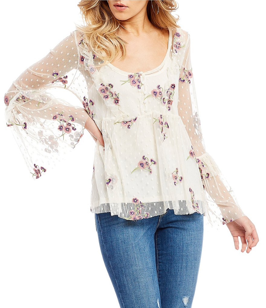Coco + Jaimeson Embroidered Mesh Bell Sleeve Top