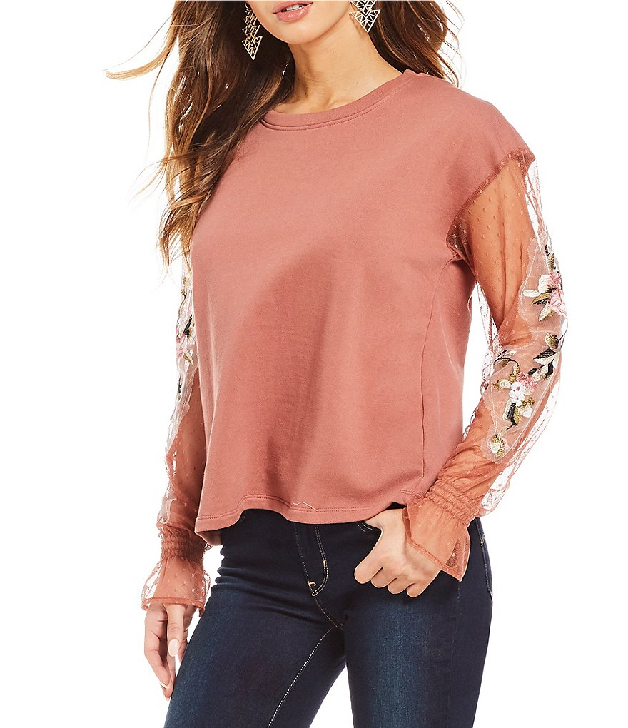 Coco + Jaimeson Embroidered-Sleeve Top