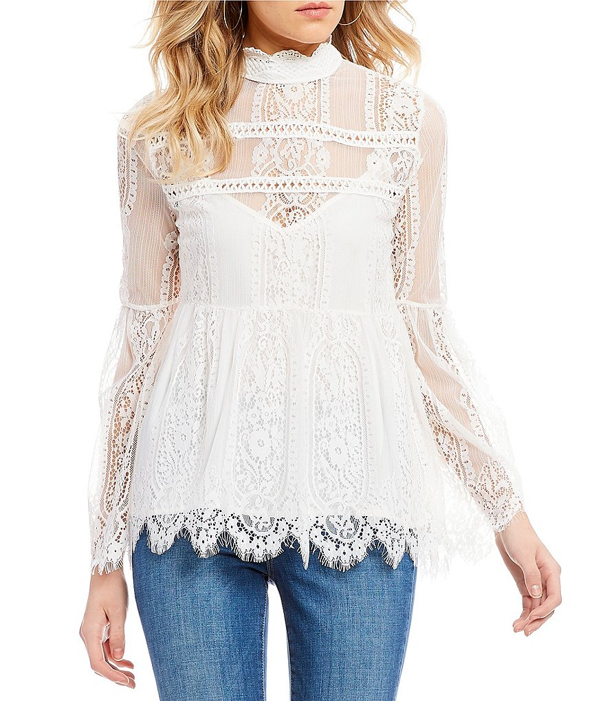 Coco + Jaimeson High-Neck Eyelash Lace Top
