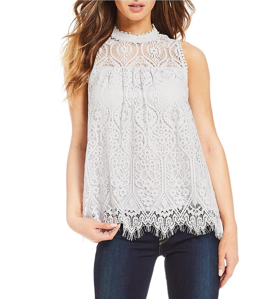 Coco + Jaimeson High-Neck Lace Tank Top