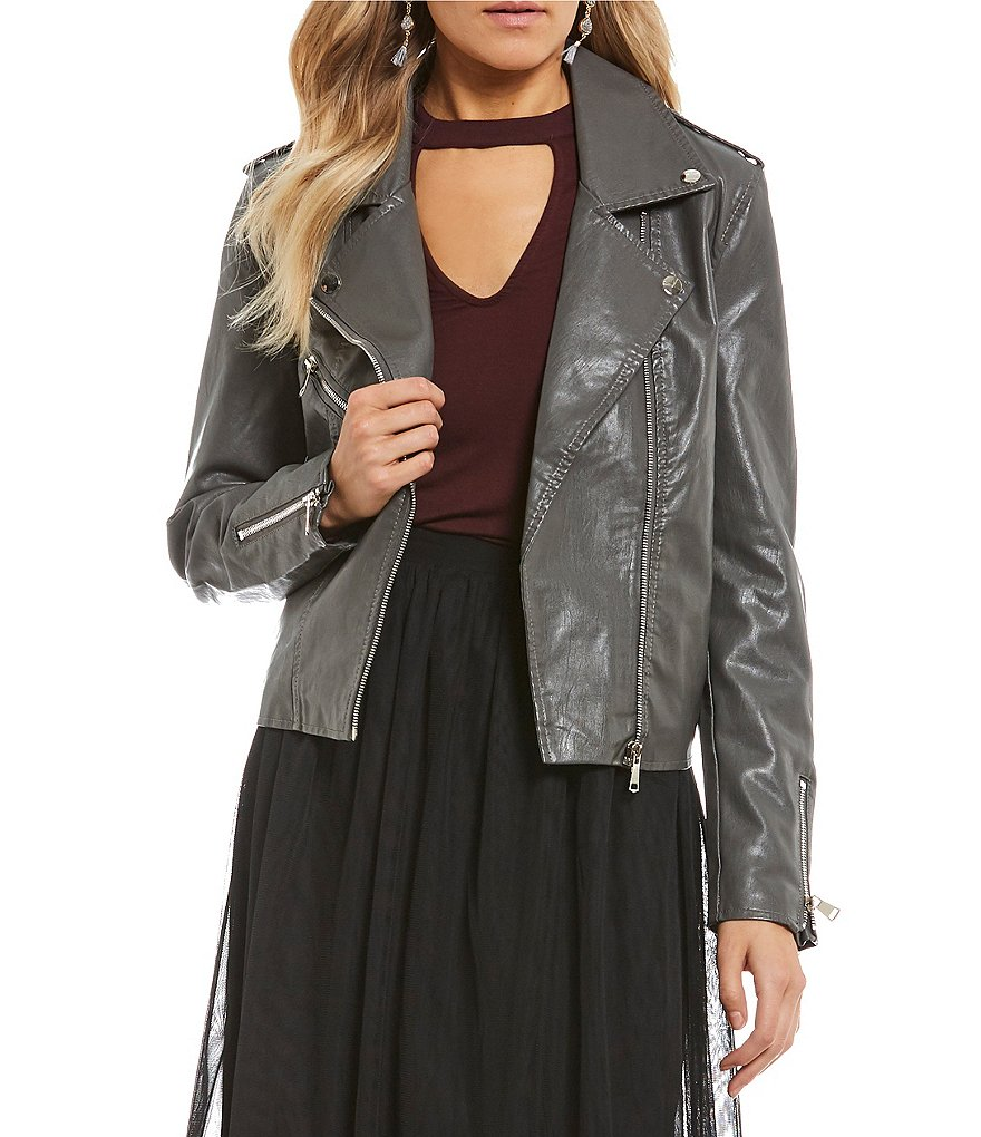 Coco + Jaimeson Long Sleeve Faux Leather Moto Jacket