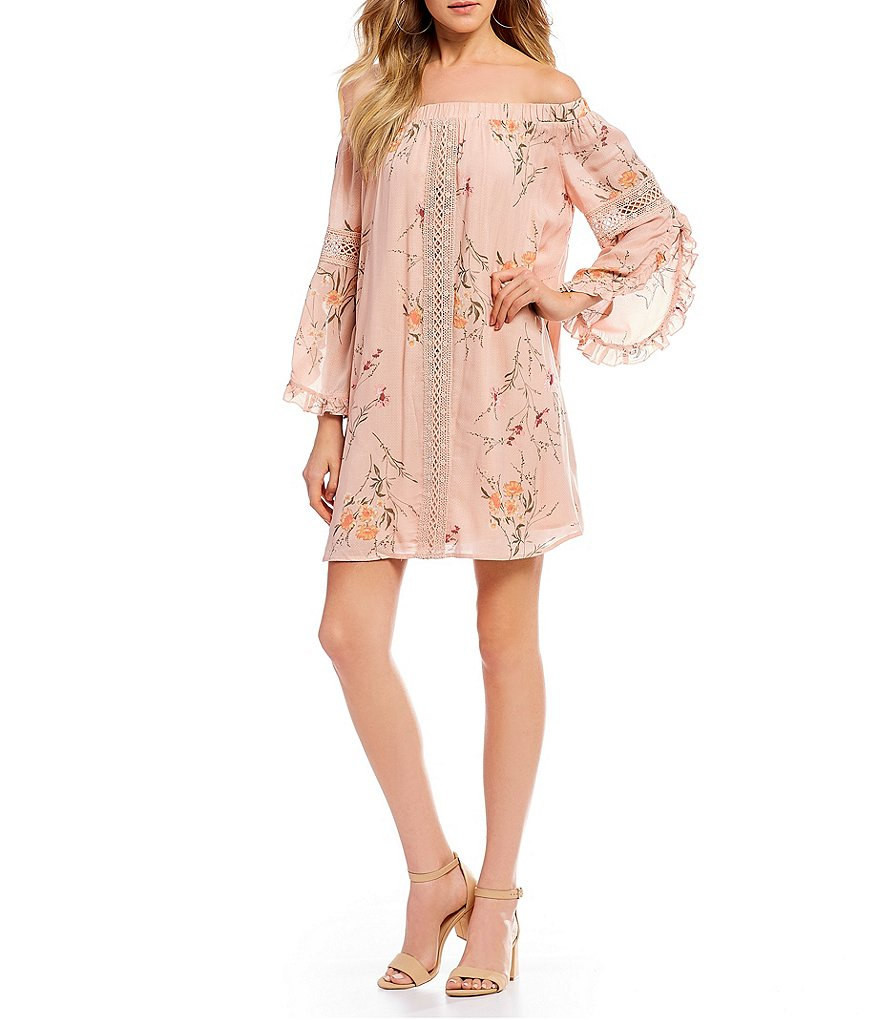 Coco + Jaimeson Off The Shoulder Printed Shift Dress