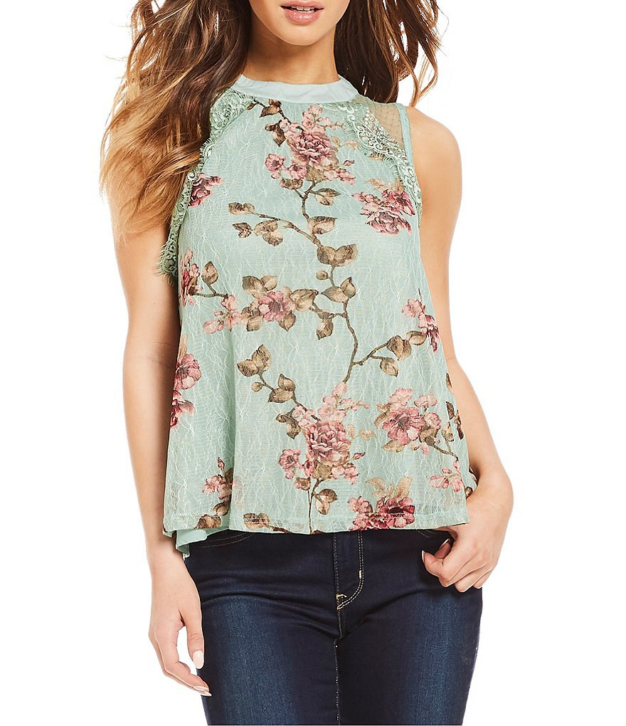Coco + Jaimeson Printed Lace Top